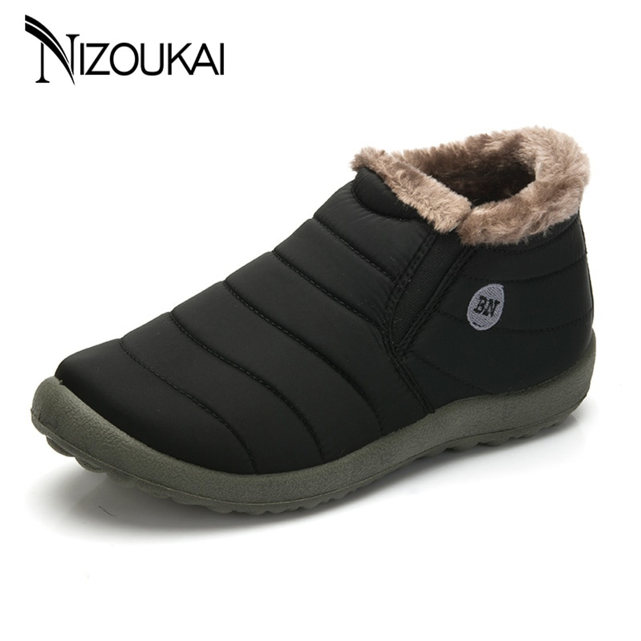 4aa561c5a Men Winter Shoes snow boots for men waterproof Warming Fabric Slip-on Ankle  Boots for Male Winter Outdoor Shoes Plus Size 35-48