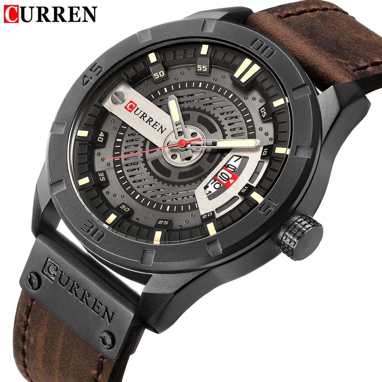 2018 Luxury Brand CURREN Men Military Sports Watches Men s Quartz Date Clock  Man Casual Leather Wrist ... 8645b758c9962