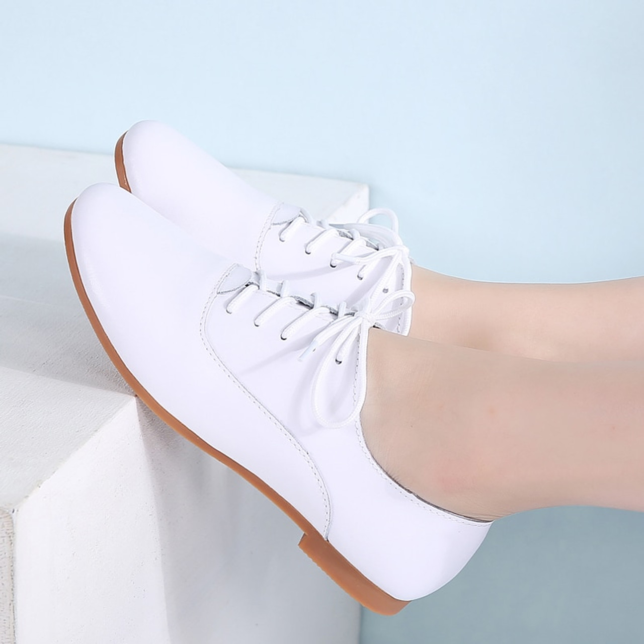 6f3648a4081 STQ 2018 Spring women oxford shoes ballerina flats shoes women genuine  leather shoes moccasins lace up loafers white shoes 051