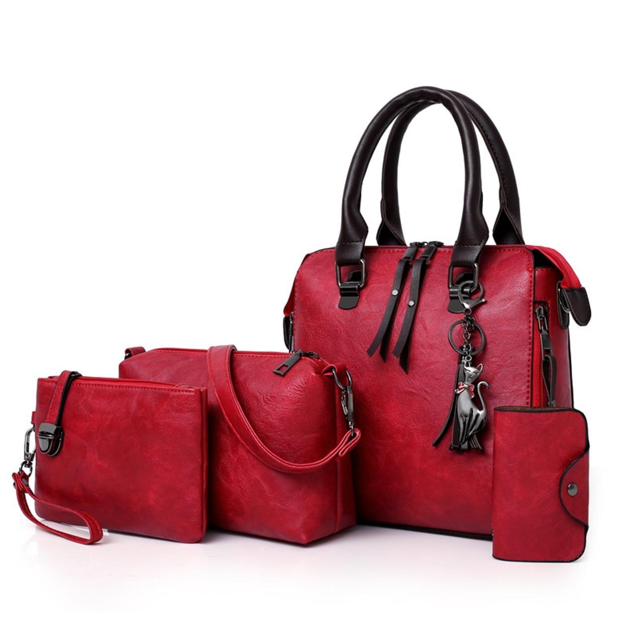 d122165047b1 Four sets wax oil pu leather bag ladies handbags women handbag designer  handbag tasse lhigh quality ...