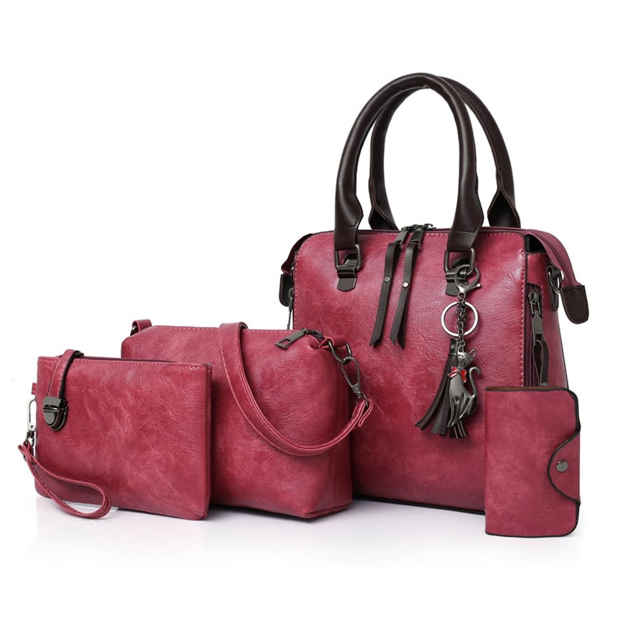 1656c66e08 ... Four sets wax oil pu leather bag ladies handbags women handbag designer  handbag tasse lhigh quality ...