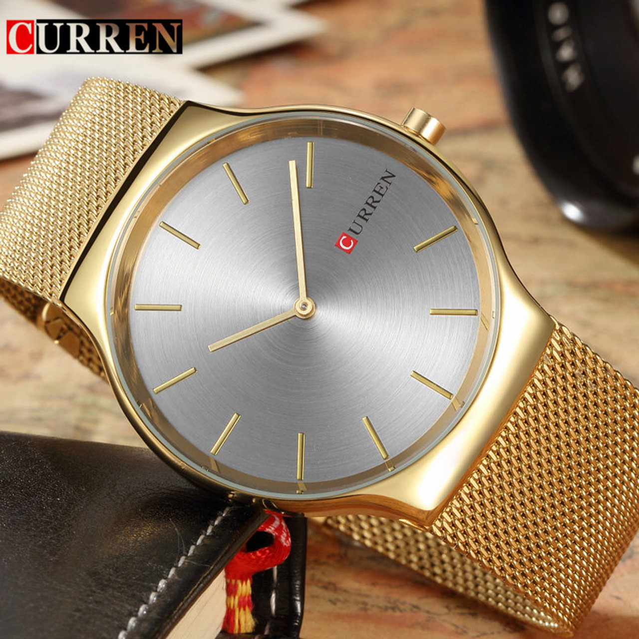 4a7e8140f4e Curren Mens Watches Top Brand Luxury Gold Stainless Steel Men Quartz Watch  Fashion Business Male Wristwatches ...