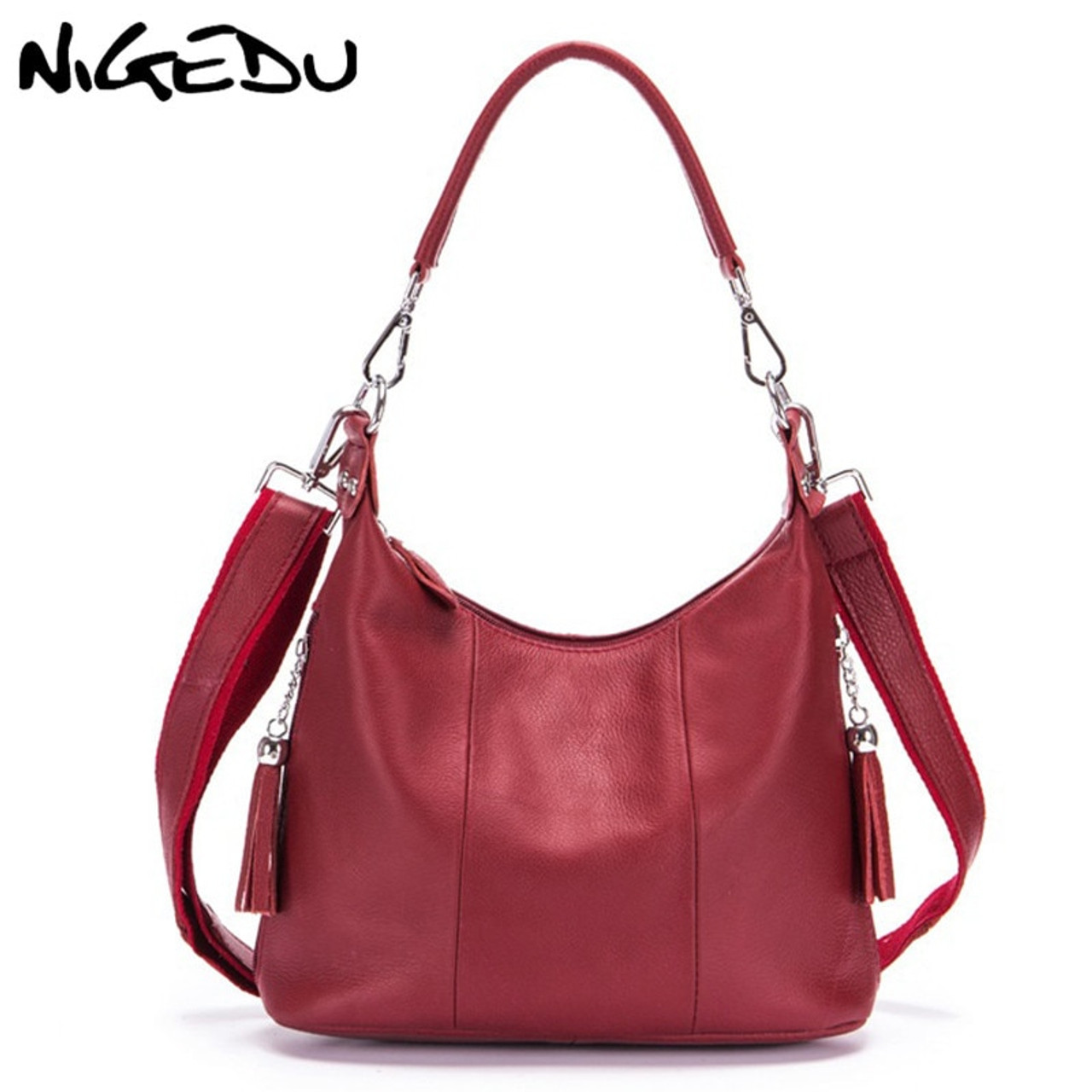 0f055119845a NIGEDU Genuine Leather Women handbag Tassel Messenger Bags for Women s  Shoulder Bag Cowhide Female Messenger Bags ...