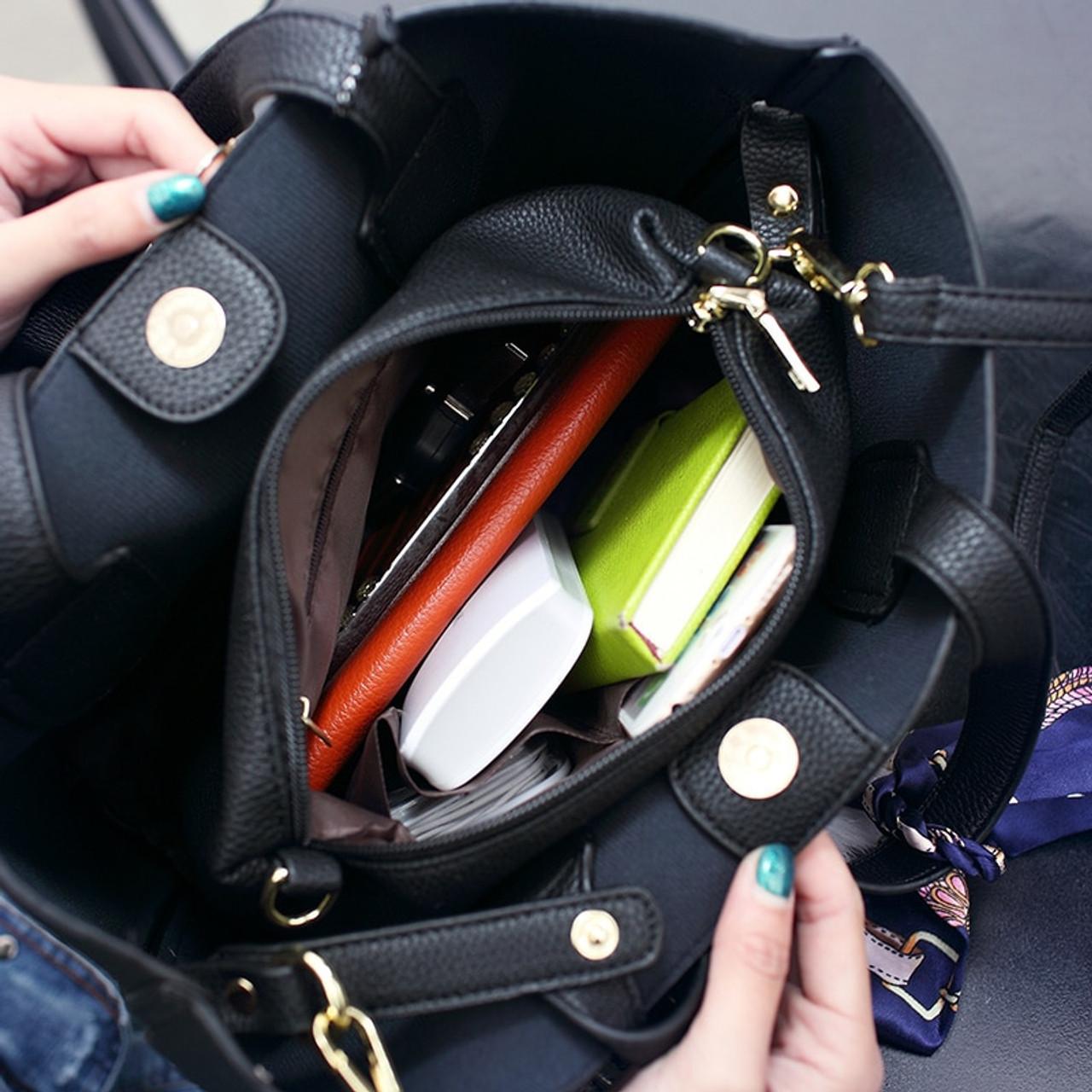... Bolish Litchi Pattern Soft PU Leather Women Handbag Two Pieces Female  Shoulder Bag Girls Messenger bag ... c43a1477dd914