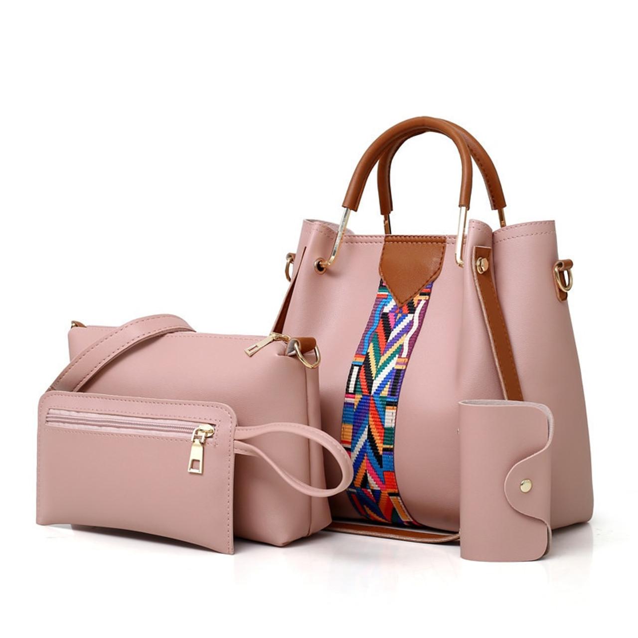 1271165f5cc4 4PCS Set Purses and Handbags PU Leather Striped Shoulder Bags for Women  2018 Fashion Top-Handle Bags Female Shoulder Bag - OnshopDeals.Com