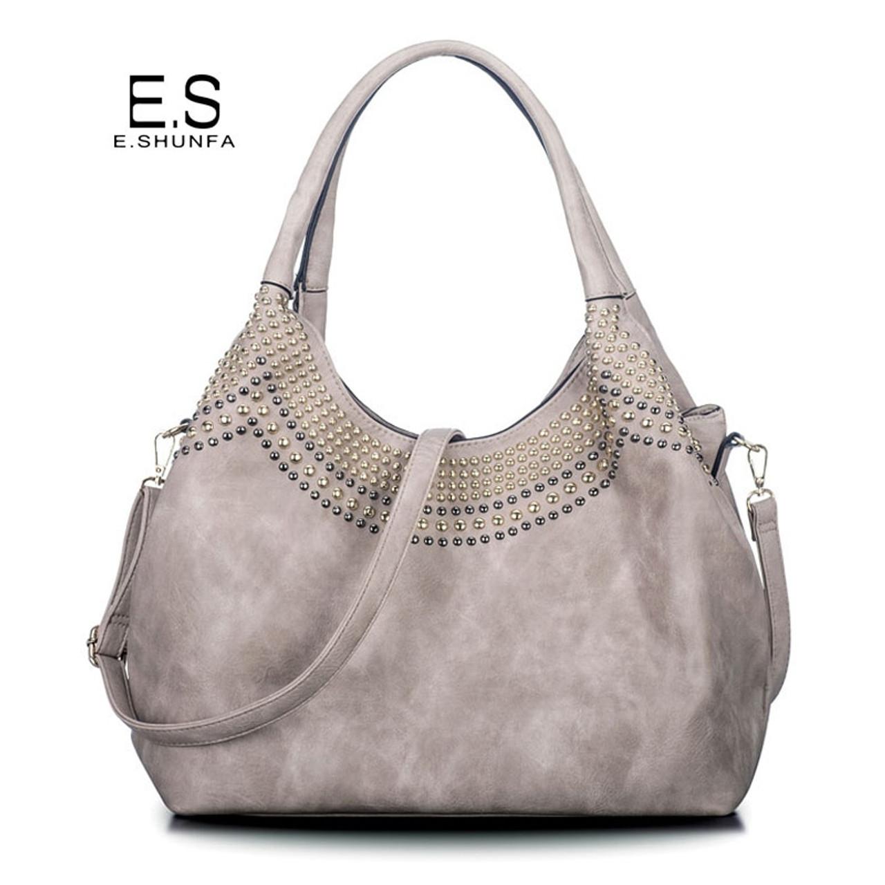 d50f58dc91cc Beading Shoulder Bags Women 2018 New Fashion Casual Tote Bag Handbag Hobos High  Quality PU Leather Shoulder Bag Large Capacity - OnshopDeals.Com