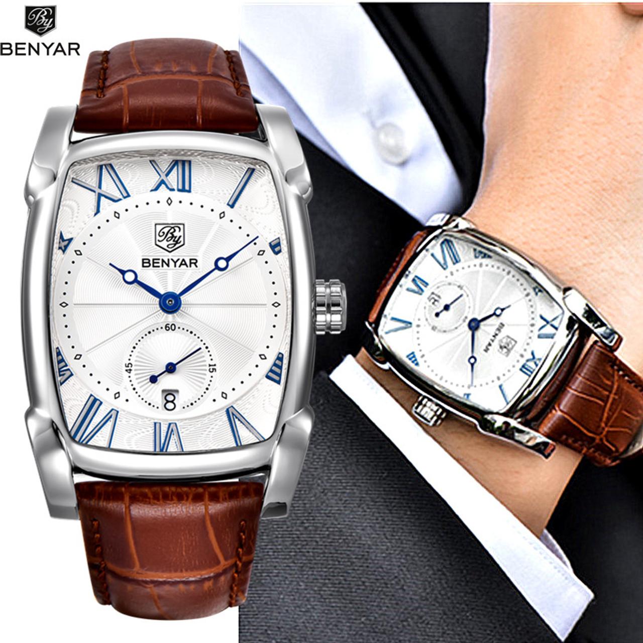 42caa7d4bad Benyar 2017 Luxury Brand Quartz Mens Watches Brand Men Military Leather Men  Sports Watch Hour Date ...