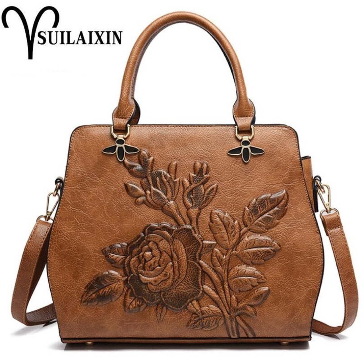 2c0c213c9eda Women Designer Leather Hobo Bucket Bags Large Embroidery Embossing Printing  retro Floral Handbag Luxury Tote Bag High quality - OnshopDeals.Com