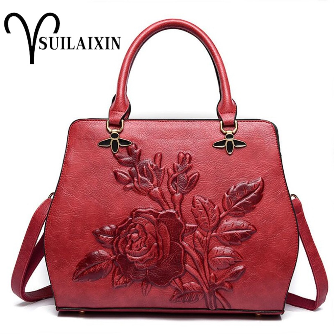2c762b4d5d807a ... Women Designer Leather Hobo Bucket Bags Large Embroidery Embossing  Printing retro Floral Handbag Luxury Tote Bag ...