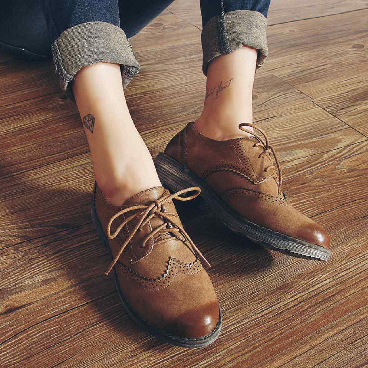 Teahoo Oxford Shoes for Women 2018 British Style Flats Brogues Leather  Shoes Woman Handmade Lace up Oxfords Women Shoes - OnshopDeals.Com 866f520b0c7