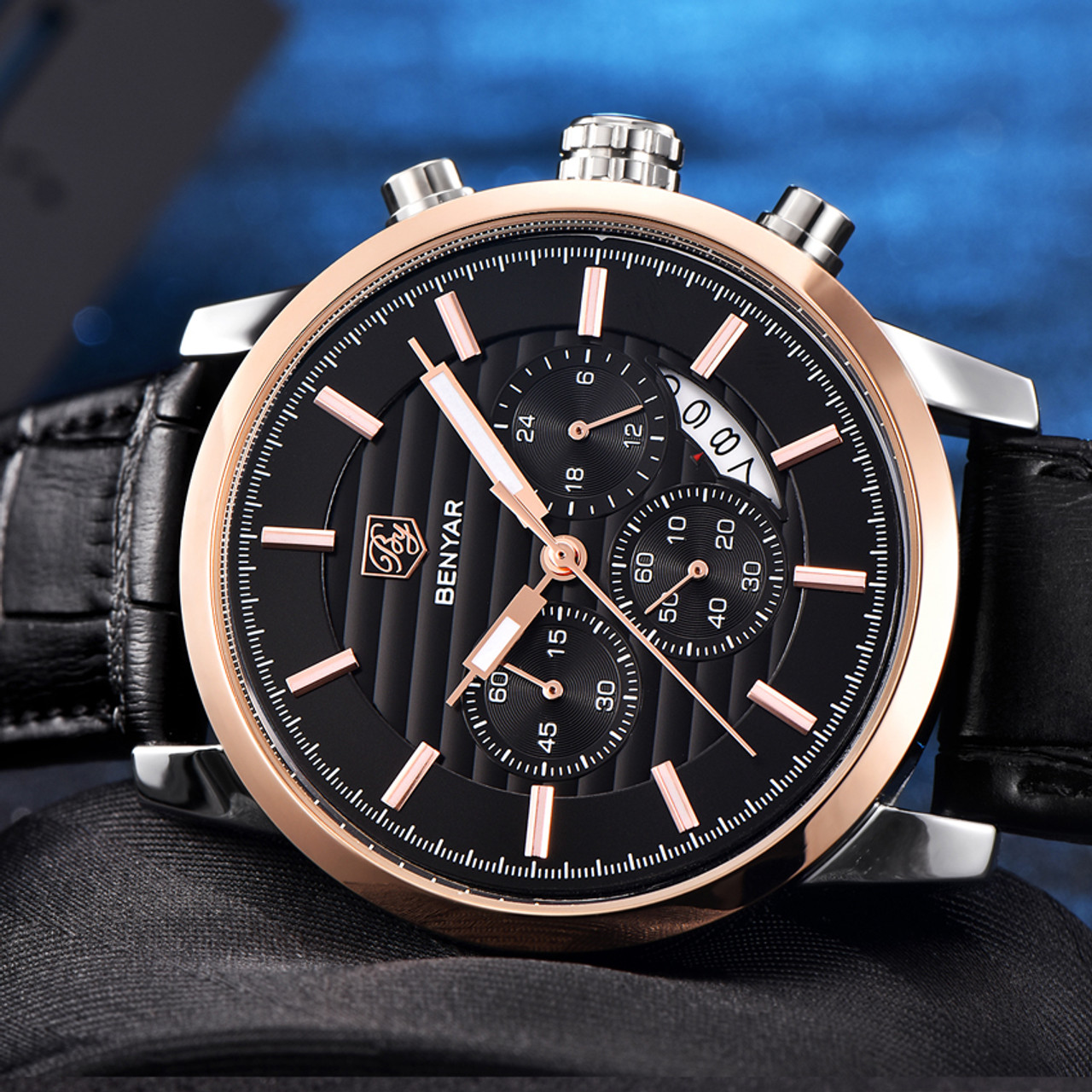 5cb7e706b9e1 ... Montre Homme BENYAR Chronograph Men s Watch Luxury Brand Full Steel  Quartz Black Watch Men Wrist Watch ...