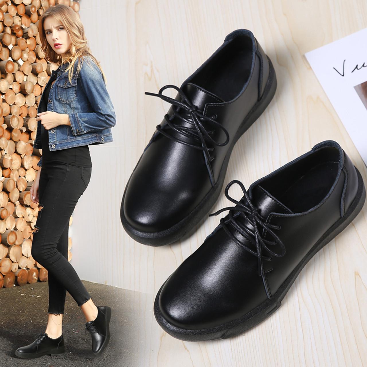 Women Winter Flats Shoes Genuine