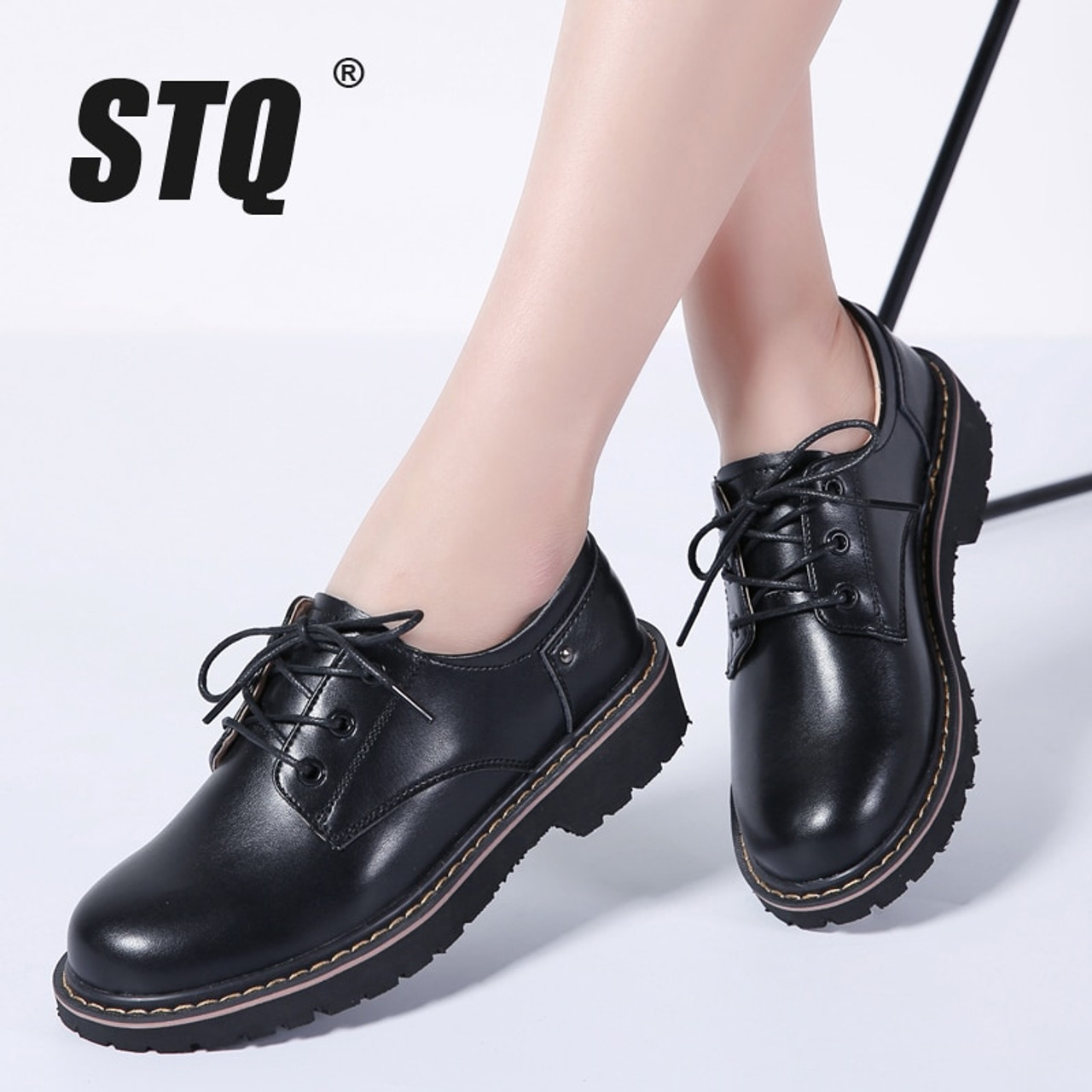 495bccb4f1f STQ 2018 Autumn women oxford shoes casual flats dress black work shoes women  genuine Leather lace ...