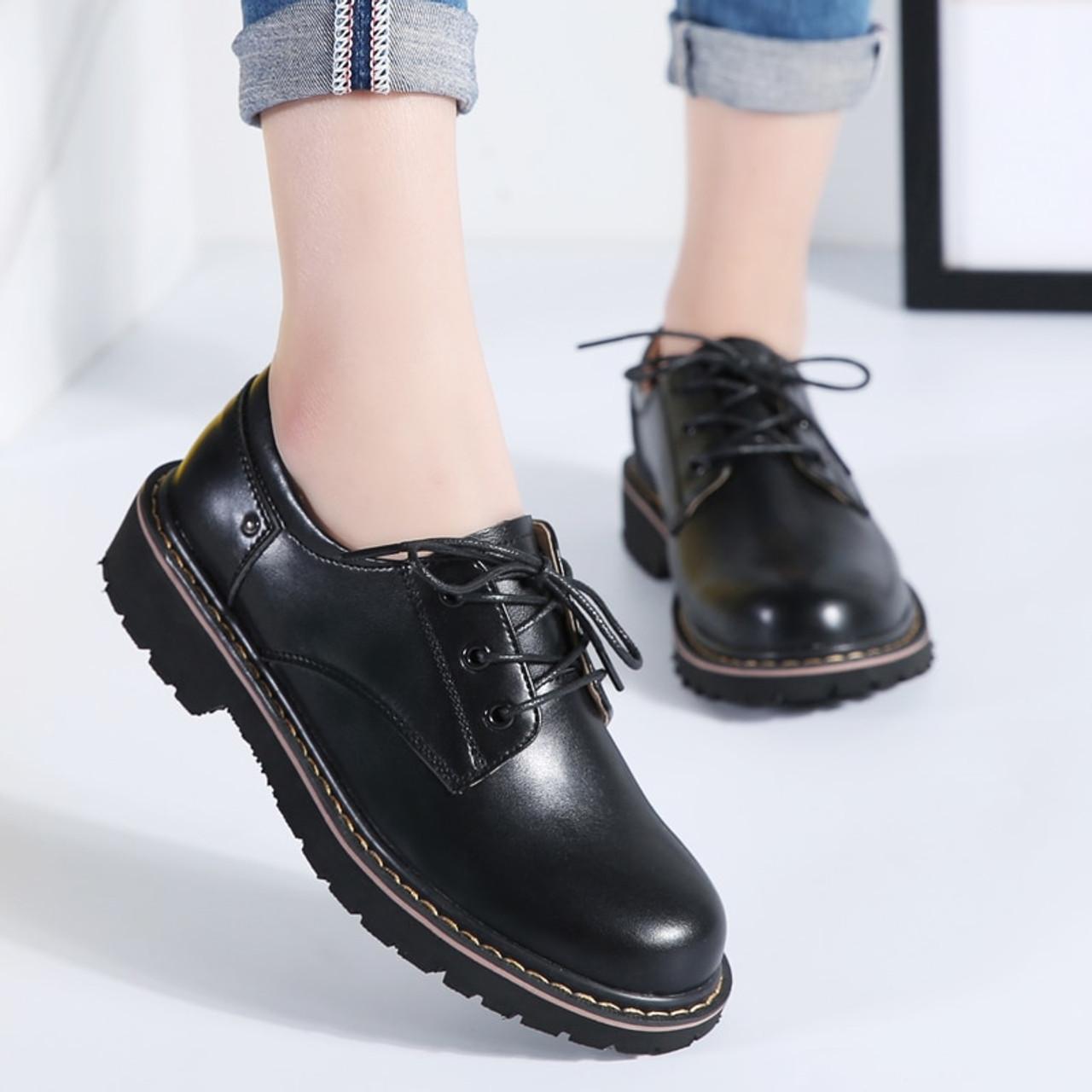 cc1ff37302 ... STQ 2018 Autumn women oxford shoes casual flats dress black work shoes  women genuine Leather lace ...