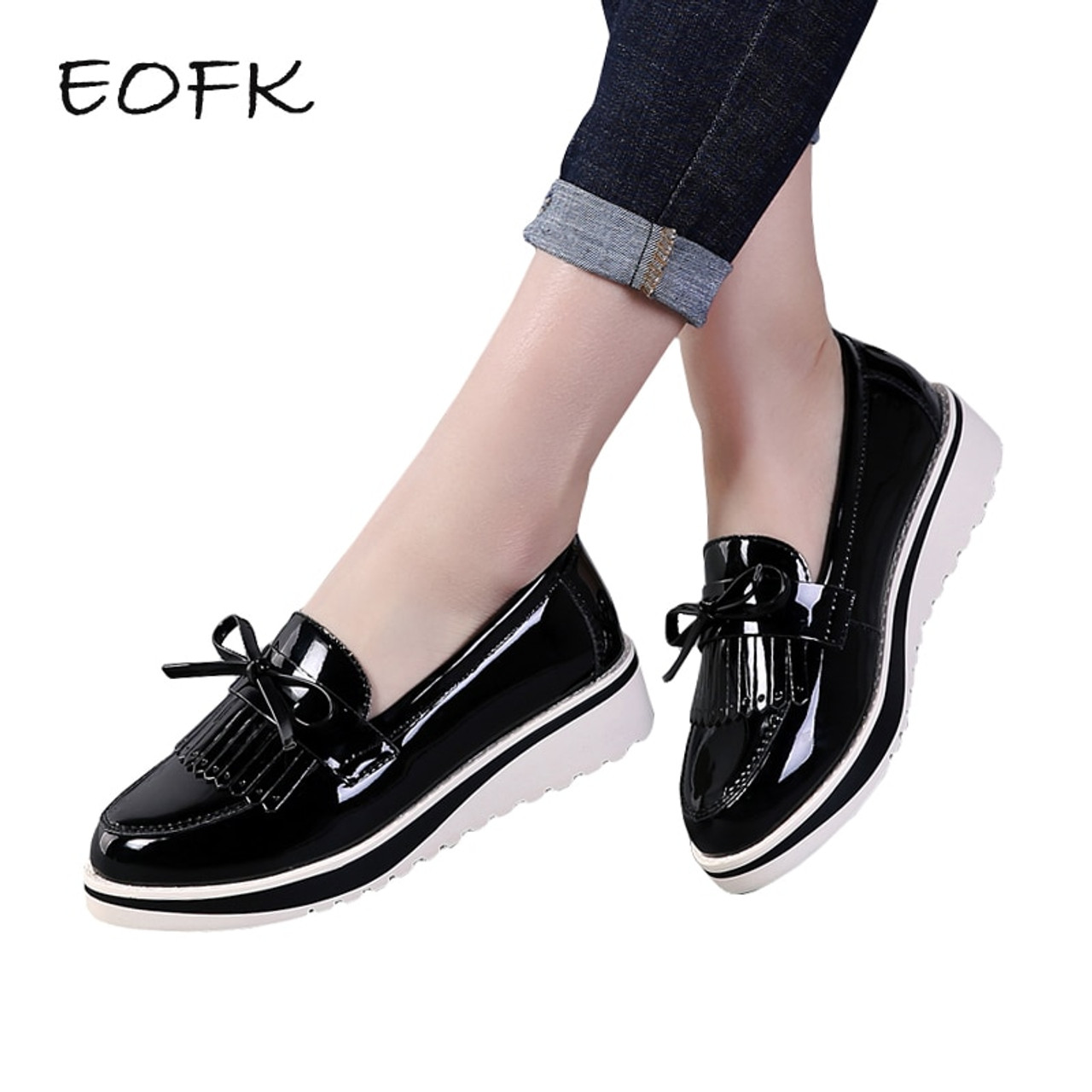 ada94a1abcd EOFK Flat Shoes Women Autumn Black Patent Leather Slip On Fringe Sweet  Woman Casual Loafers Women s ...