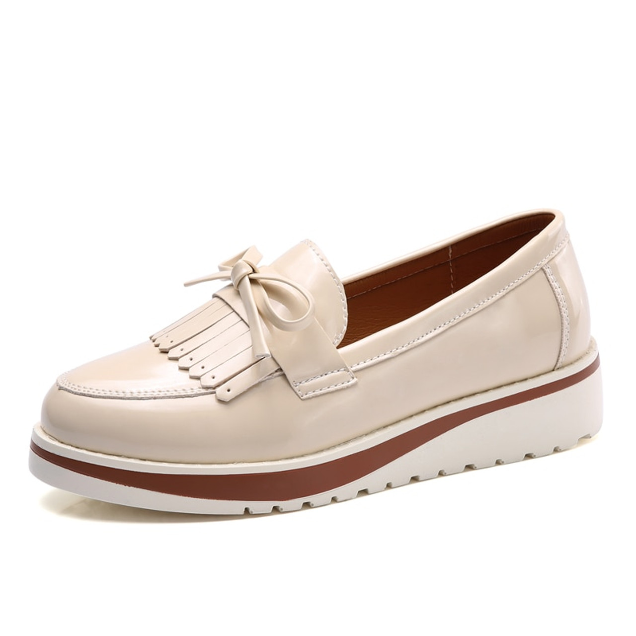 f09fcb7f15d ... EOFK Flat Shoes Women Autumn Black Patent Leather Slip On Fringe Sweet  Woman Casual Loafers Women s ...