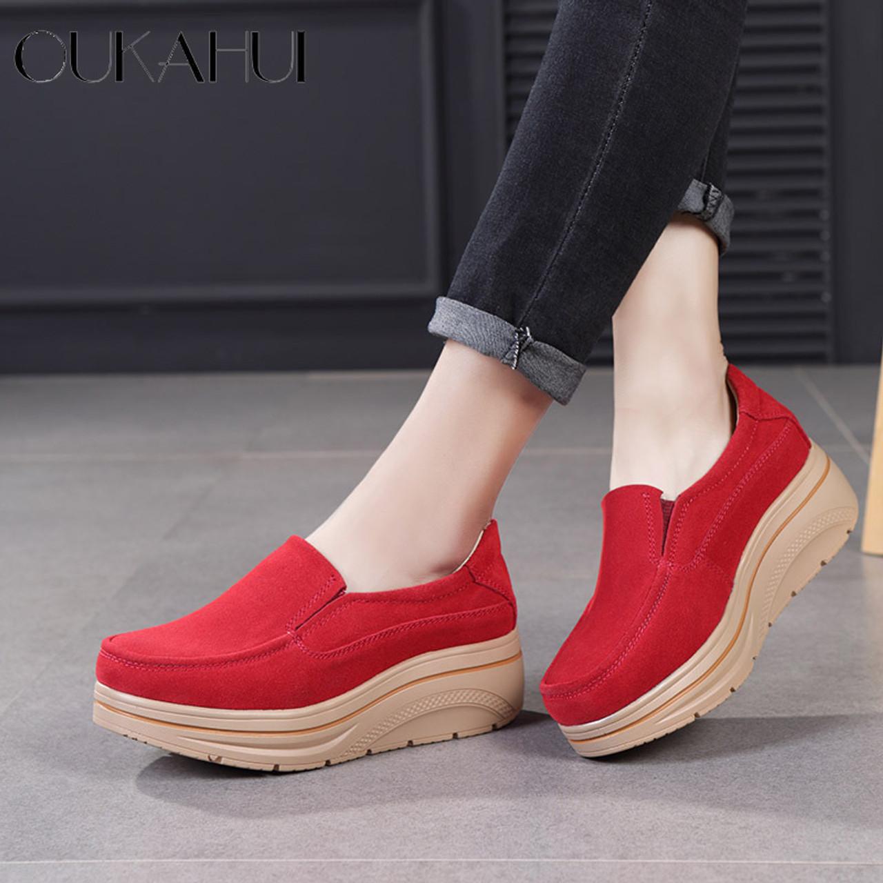5e4e711f95ee OUKAHUI Autumn Genuine Leather Flat Platform Shoes Women Shake Silp-On 2018  Thick Fashion Increase ...