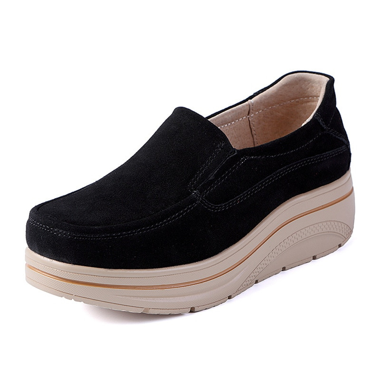 9e92b06917fd ... OUKAHUI Autumn Genuine Leather Flat Platform Shoes Women Shake Silp-On 2018  Thick Fashion Increase ...