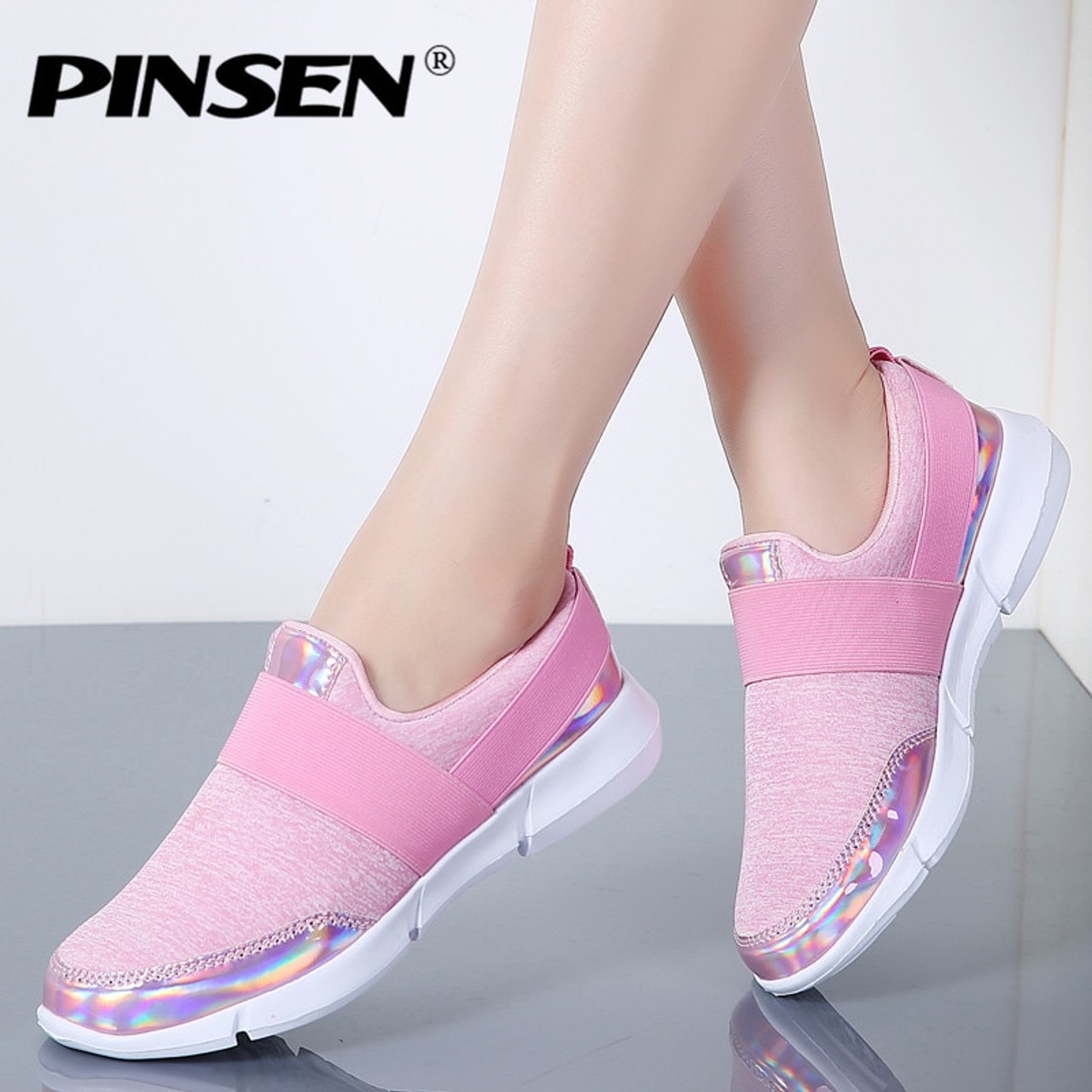 8f1bc17e9df8 PINSEN 2018 Autumn Sneakers Women Shoes Breathable Loafers Flat Shoes Woman  Slip-on Casual Shoes ...