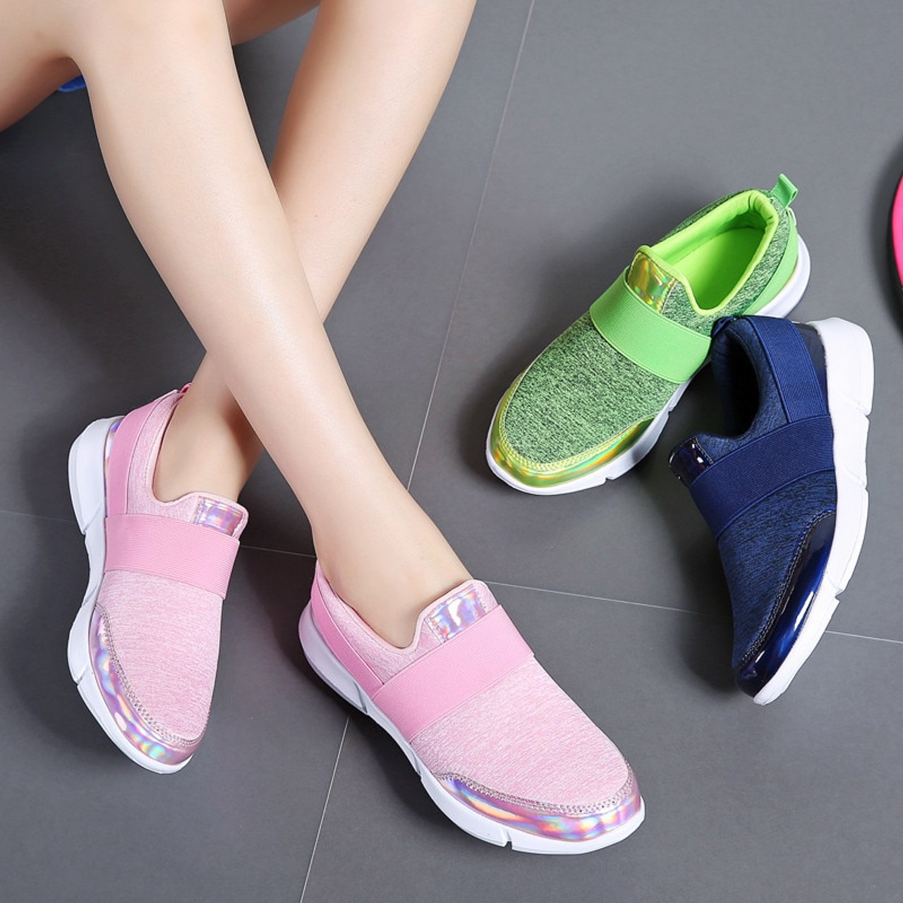 7e323908ff7b ... PINSEN 2018 Autumn Sneakers Women Shoes Breathable Loafers Flat Shoes  Woman Slip-on Casual Shoes ...