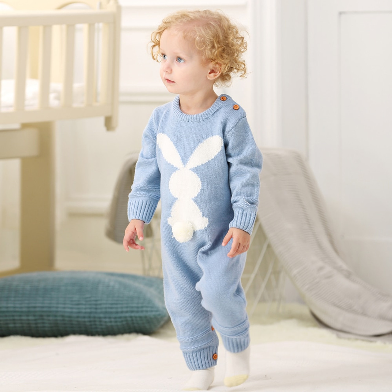 de780b4f83ff ... Spring Rompers for Newborns Baby Girl One Piece Jumpsuits Long Sleeves  Infant Boy Overalls Animal Rabbit ...