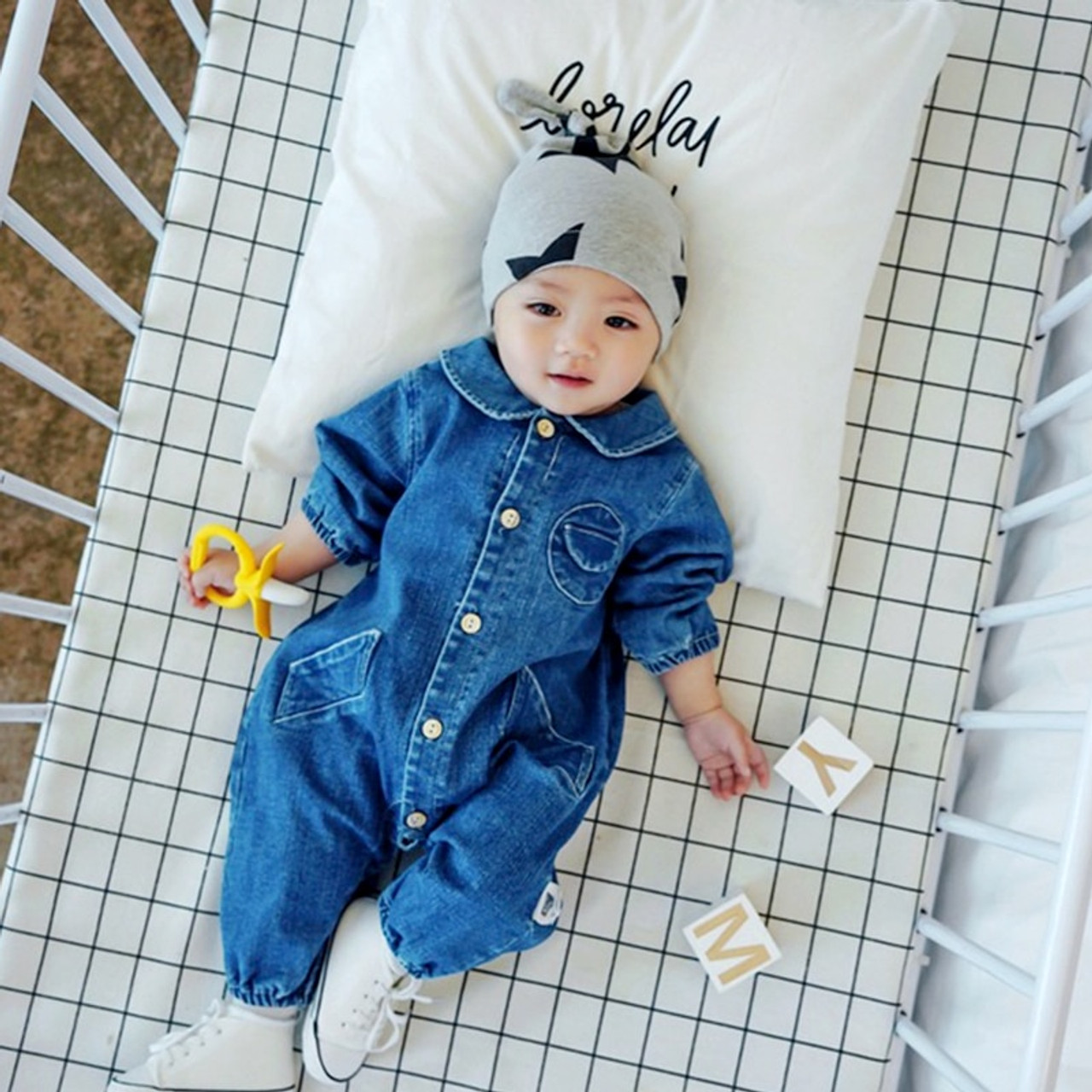 0e6a13205 ... Soft Denim Baby Romper Graffiti Infant Clothes Newborn Jumpsuit Babies  Boy Girls Costume Cowboy Fashion Jeans ...