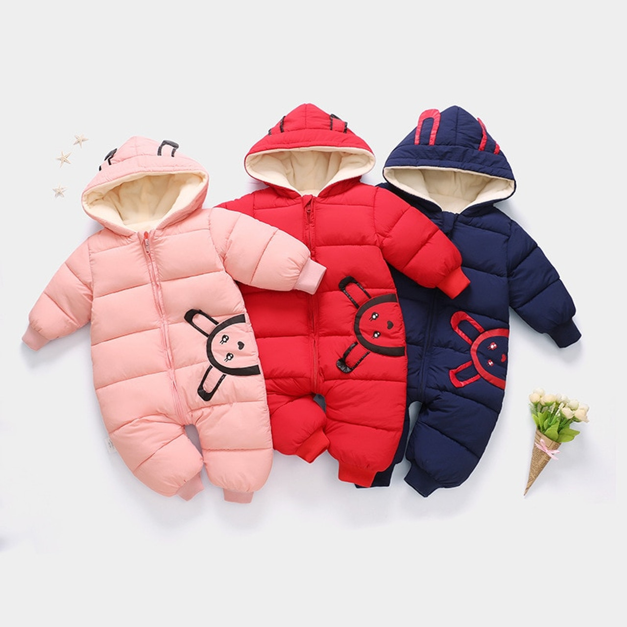 41ccbf3d0 ... Baby Rompers Winter Jackets for Baby Girls Clothing Spring Autumn Coats  Rabbit Ear Style Overalls For ...