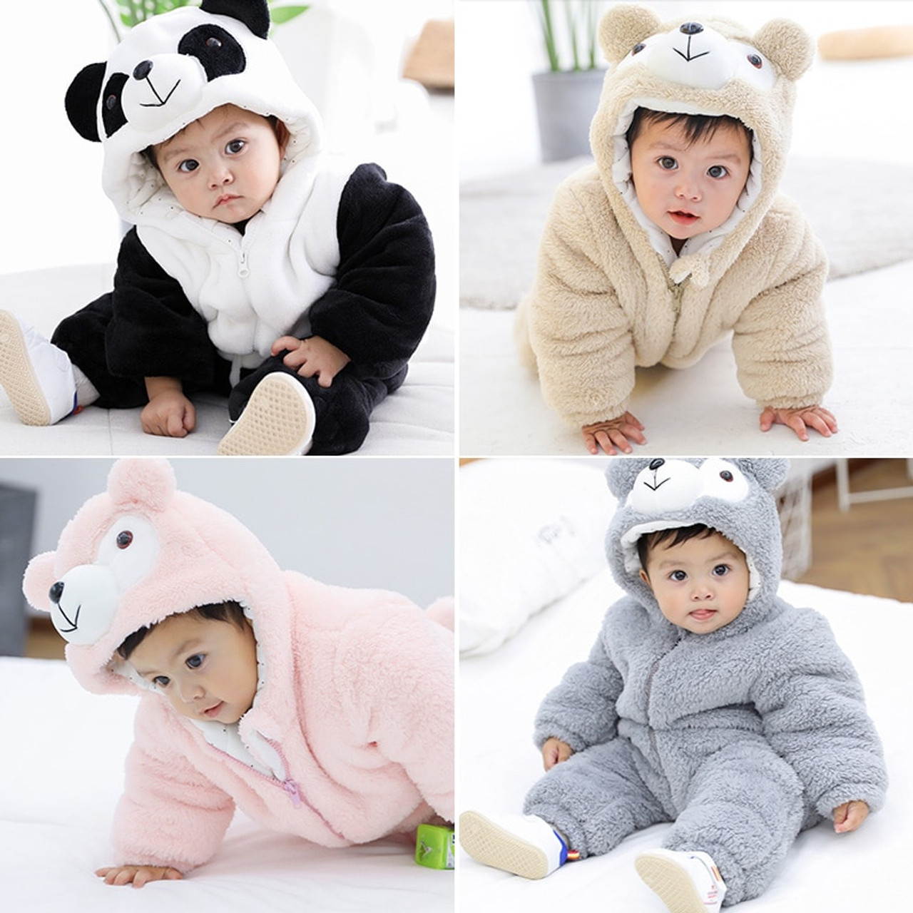 de5d07df7 Winter Baby Rompers Clothes Long Sleeved Newborn Boy Girl Coral ...