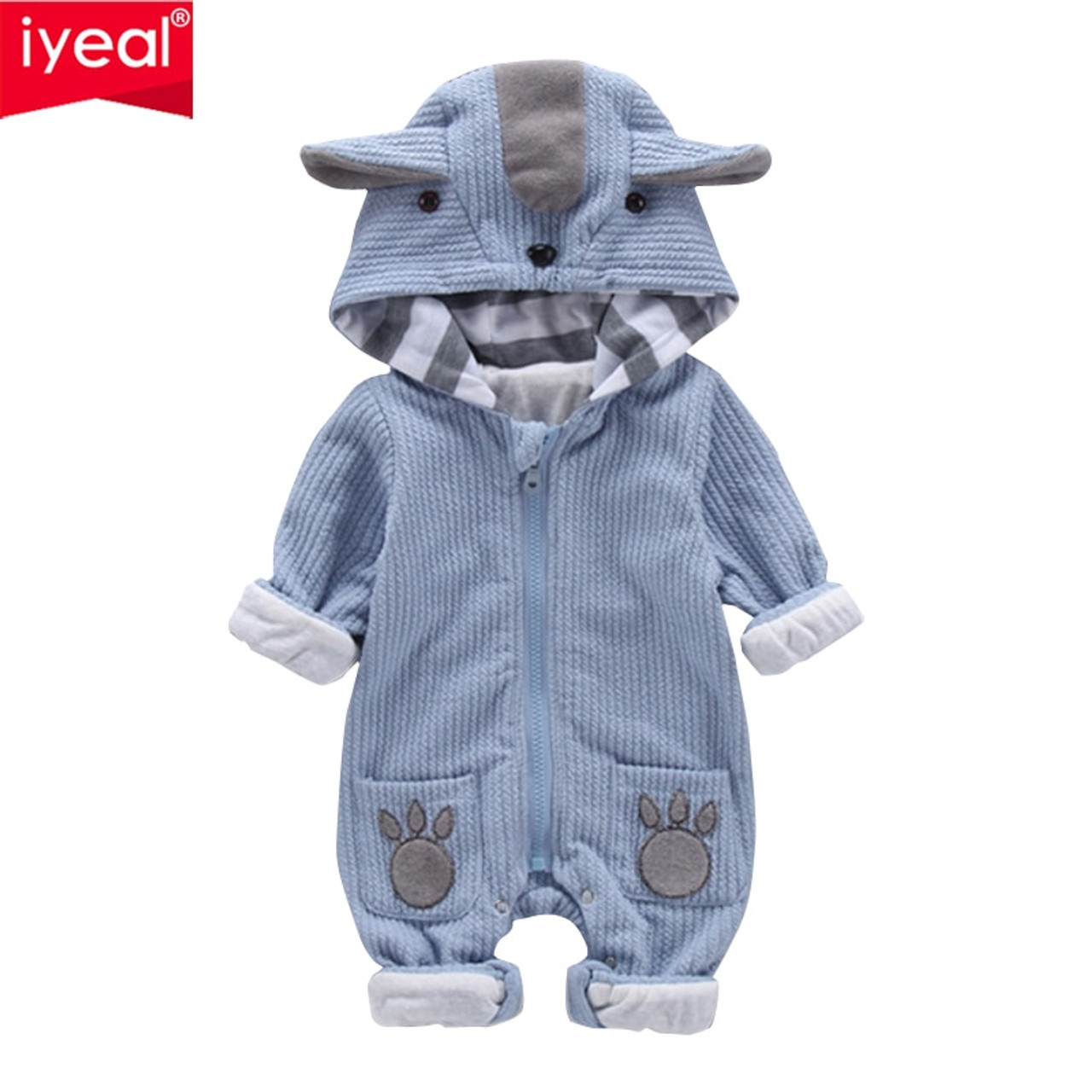 ee0ae4d769d2 IYEAL New Autumn Winter Baby Rompers Cute Hooded Cartoon Ear Infant ...