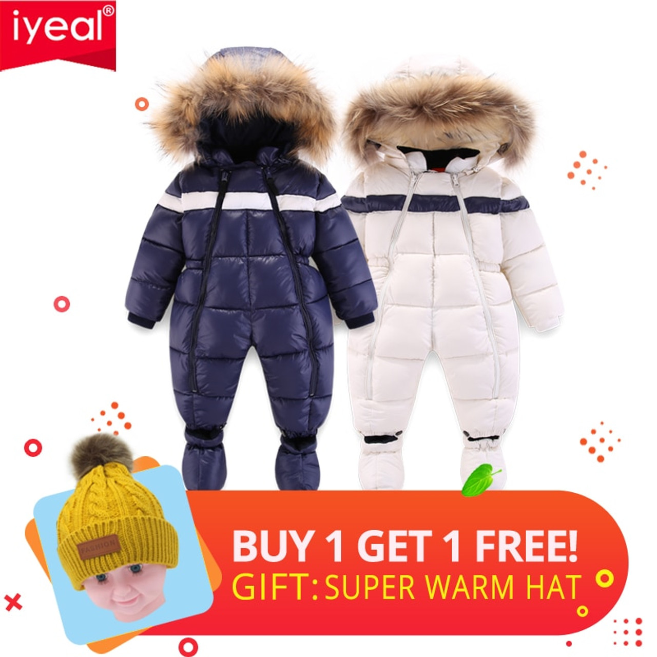 3b4b1649a IYEAL Newest Winter Children Baby Clothes Hooded Natural Fur Thicken ...