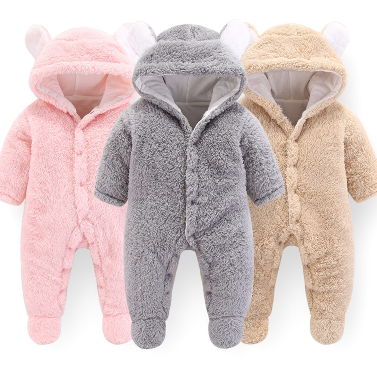 283a5f1f7 BibiCola baby rompers winter newborn baby winter thick velvet jumpsuits for bebe  boys girls toddler hoodies ...