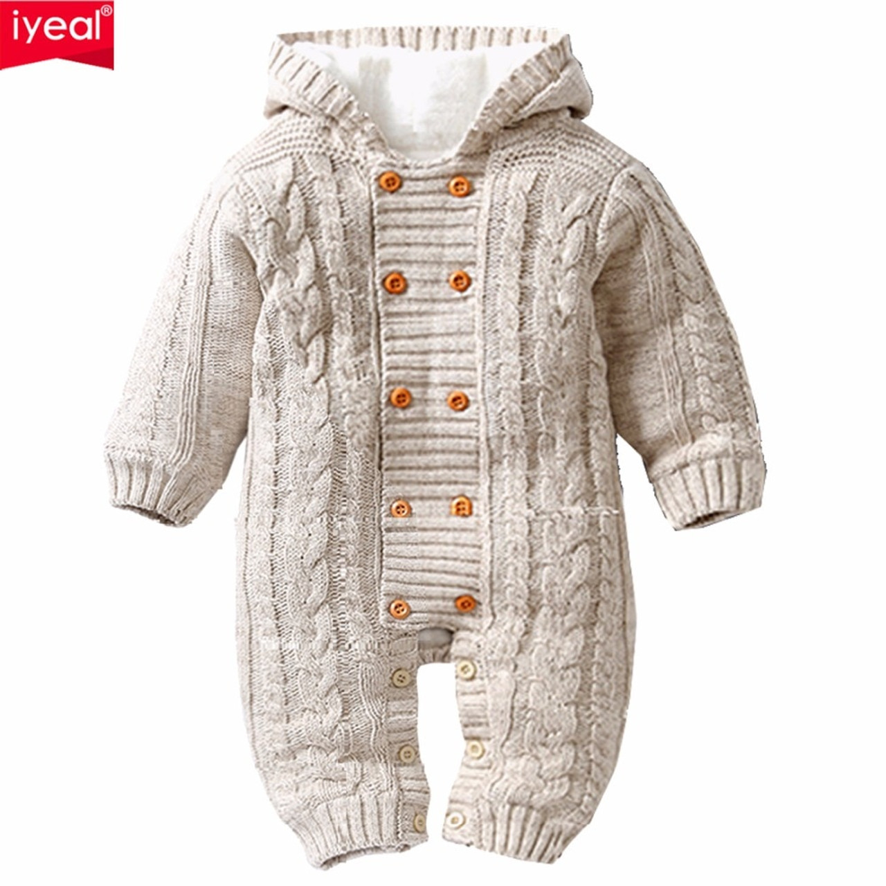 Toddler Baby Boys Girl Fur Collar Hooded Knitted Tops Warm Coat Clothes Outfit Sets