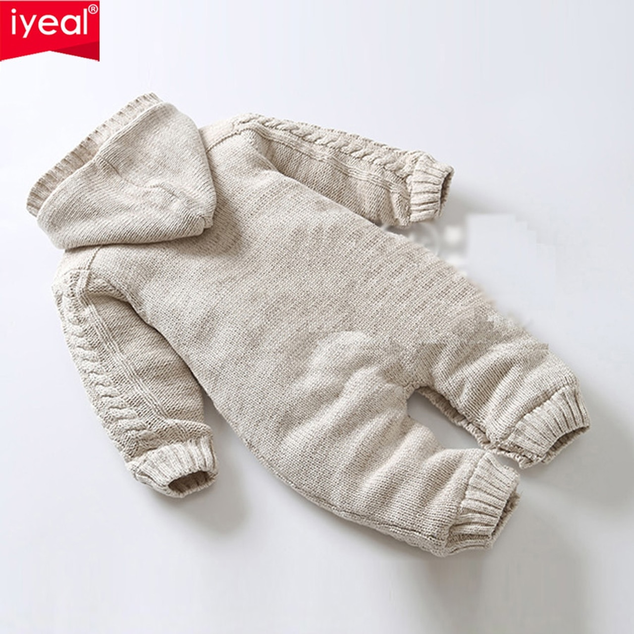 e30af865085 ... IYEAL Thick Warm Infant Baby Rompers Winter Clothes Newborn Baby Boy  Girl Knitted Sweater Jumpsuit Hooded ...