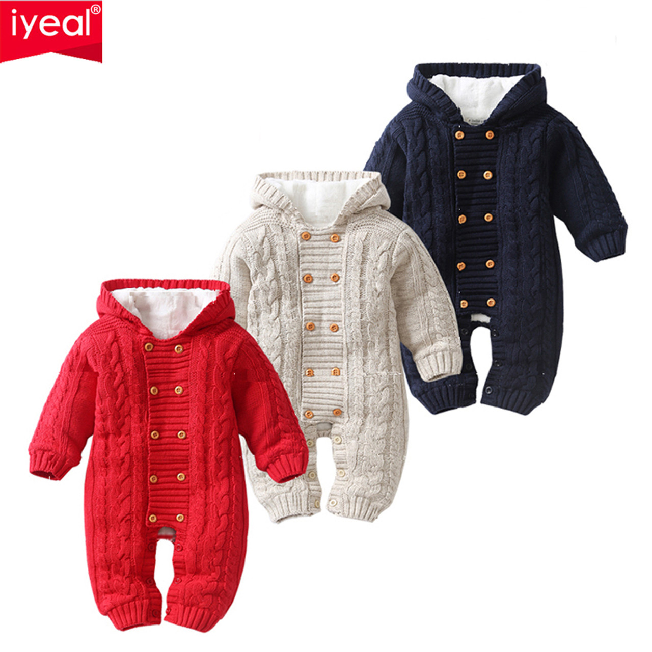 2d25b86718c1 ... IYEAL Thick Warm Infant Baby Rompers Winter Clothes Newborn Baby Boy  Girl Knitted Sweater Jumpsuit Hooded ...