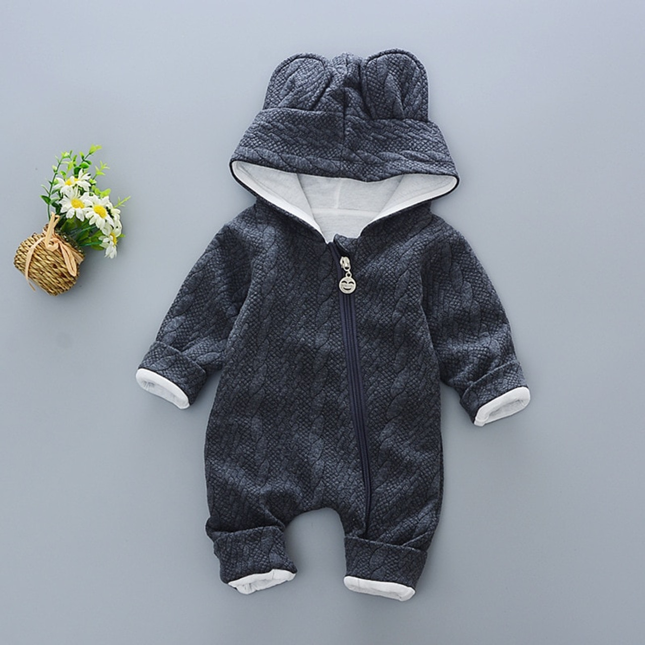 116f3e31c5e4 Baby Rompers winter Cute Rabbit Hooded Long Sleeve toddler Jumpsuits ...