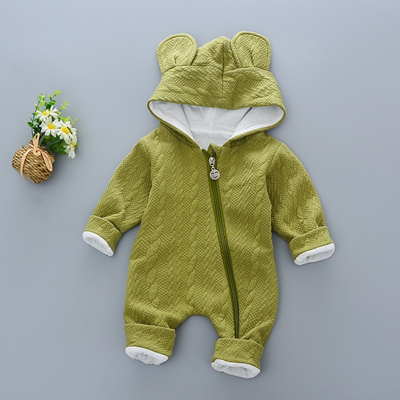 427895b9fb93 Baby Rompers winter Cute Rabbit Hooded Long Sleeve toddler Jumpsuits ...