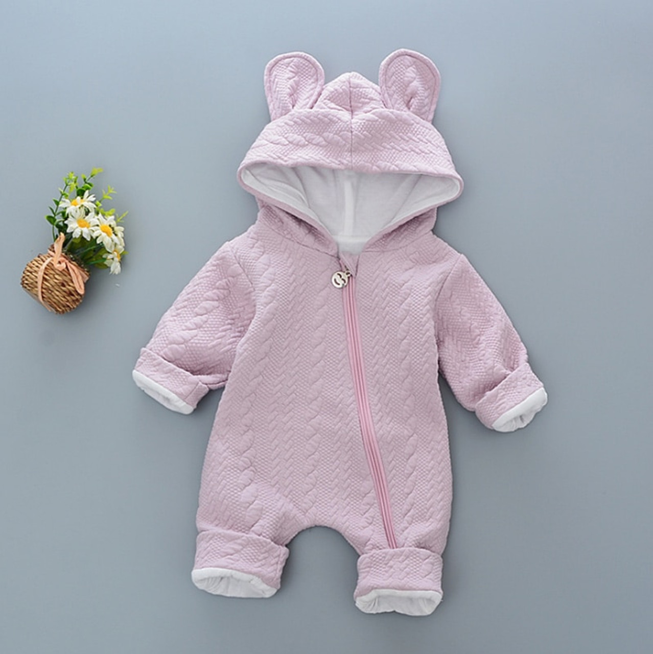 3fba5dffe ... Baby Rompers winter Cute Rabbit Hooded Long Sleeve toddler Jumpsuits  Baby boy girl clothes Cotton infant ...