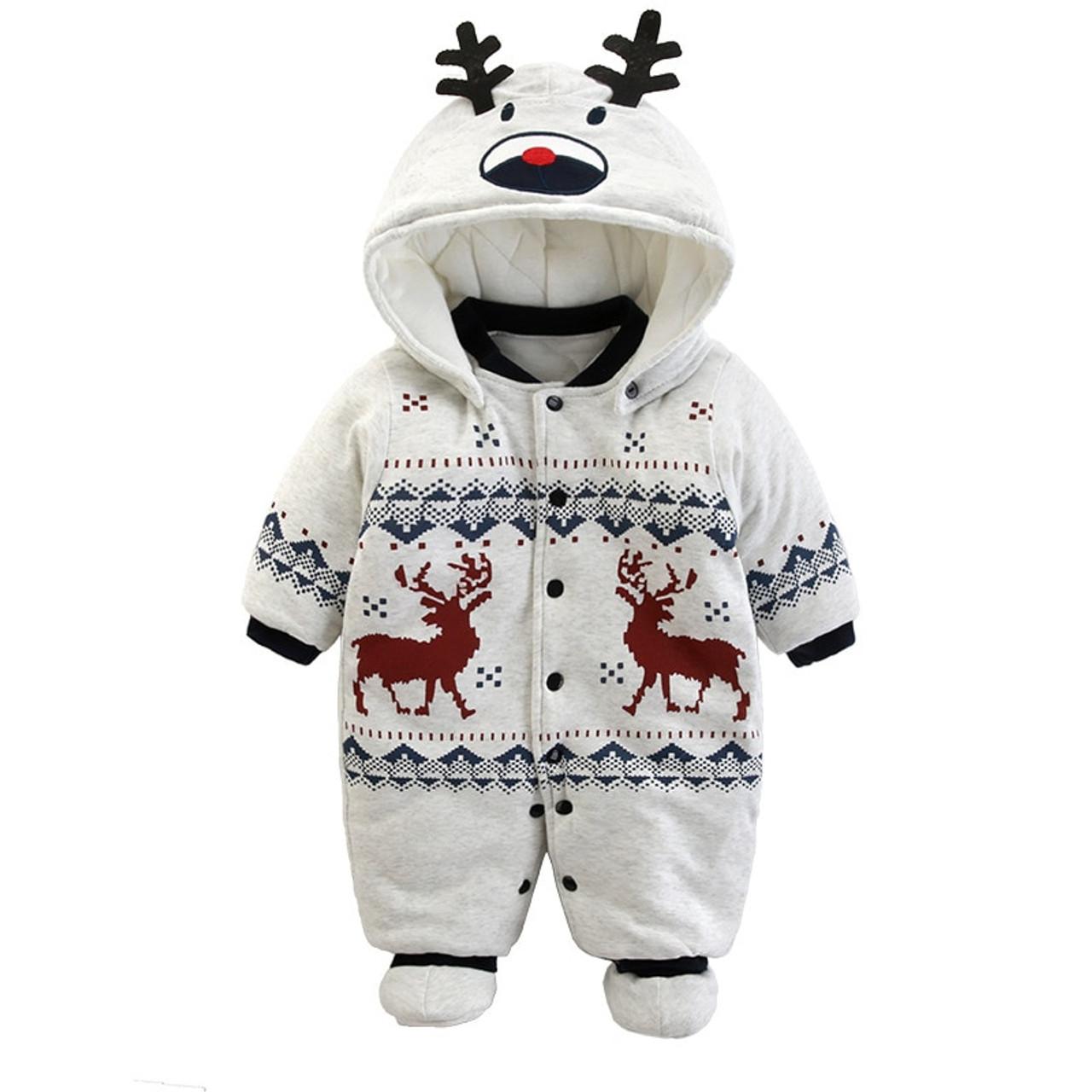 68e63faa0 Baby Rompers Winter Thick Warm fleece Hoodies baby girls boys ...