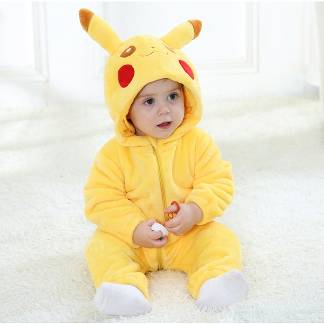 4132b09de68a Hooded Baby Romper Infant Jumpsuit Toddler Onesie for 0-3 Years Baby Boys  Girls Pikachu ...