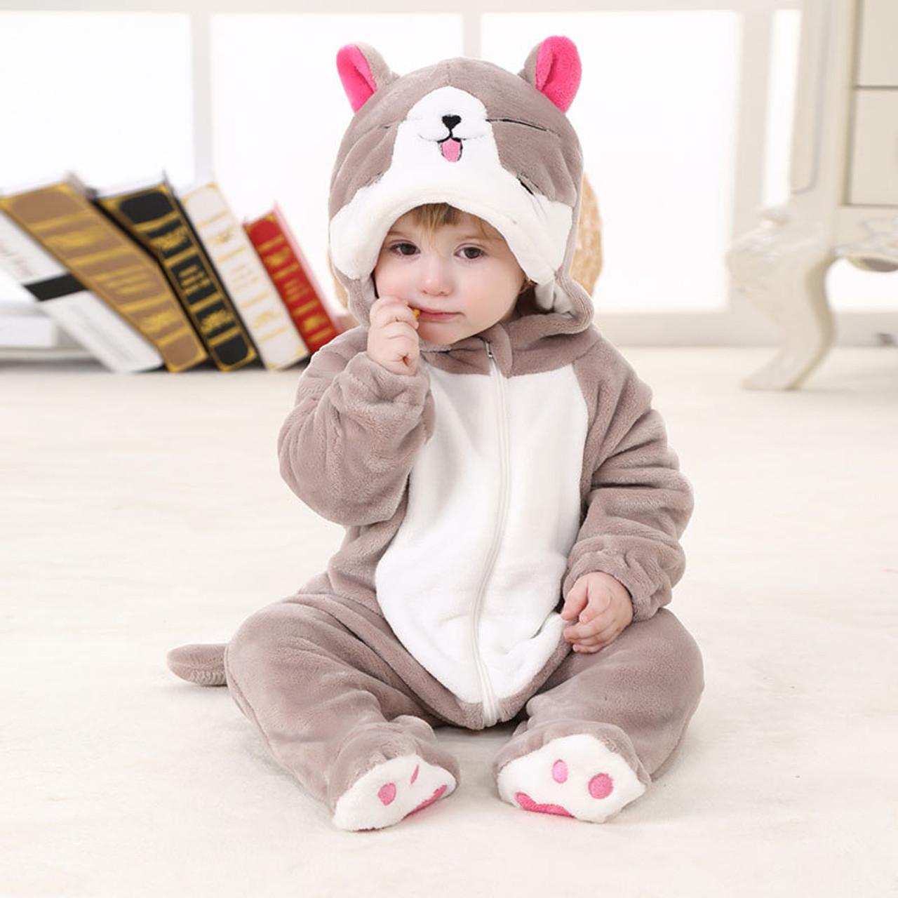 61b03704e ... Hooded Baby Romper Infant Jumpsuit Toddler Onesie for 0-3 Years Baby  Boys Girls Pikachu ...