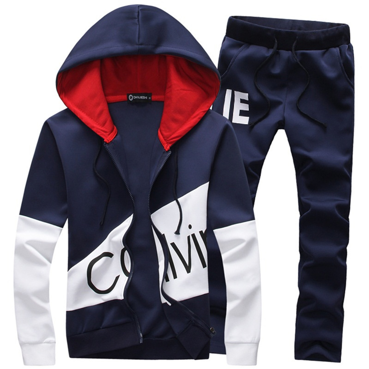 379b9861897 Casual sporting suit men warm hooded tracksuit track polo men s sweat suits  set zipper patchwork letter ...