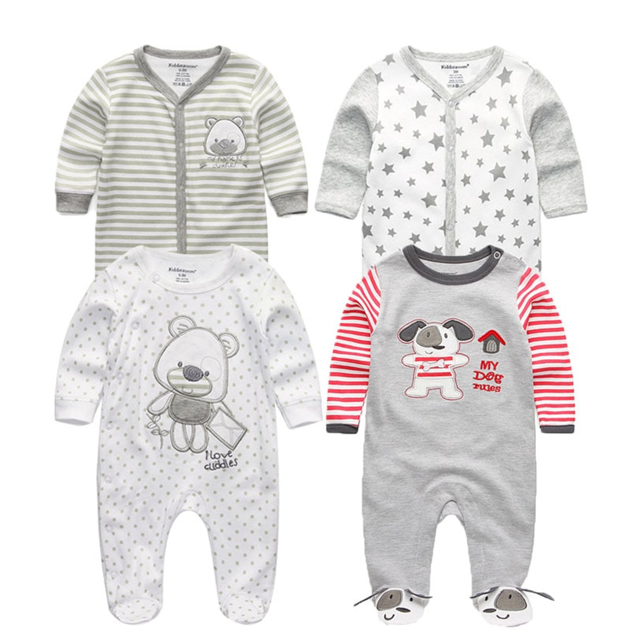 eb4da757197 ... 2018 5PCS lot Newborn Baby Girl Rompers Full Long Sleeve Cotton  Jumpsuit O-Neck ...