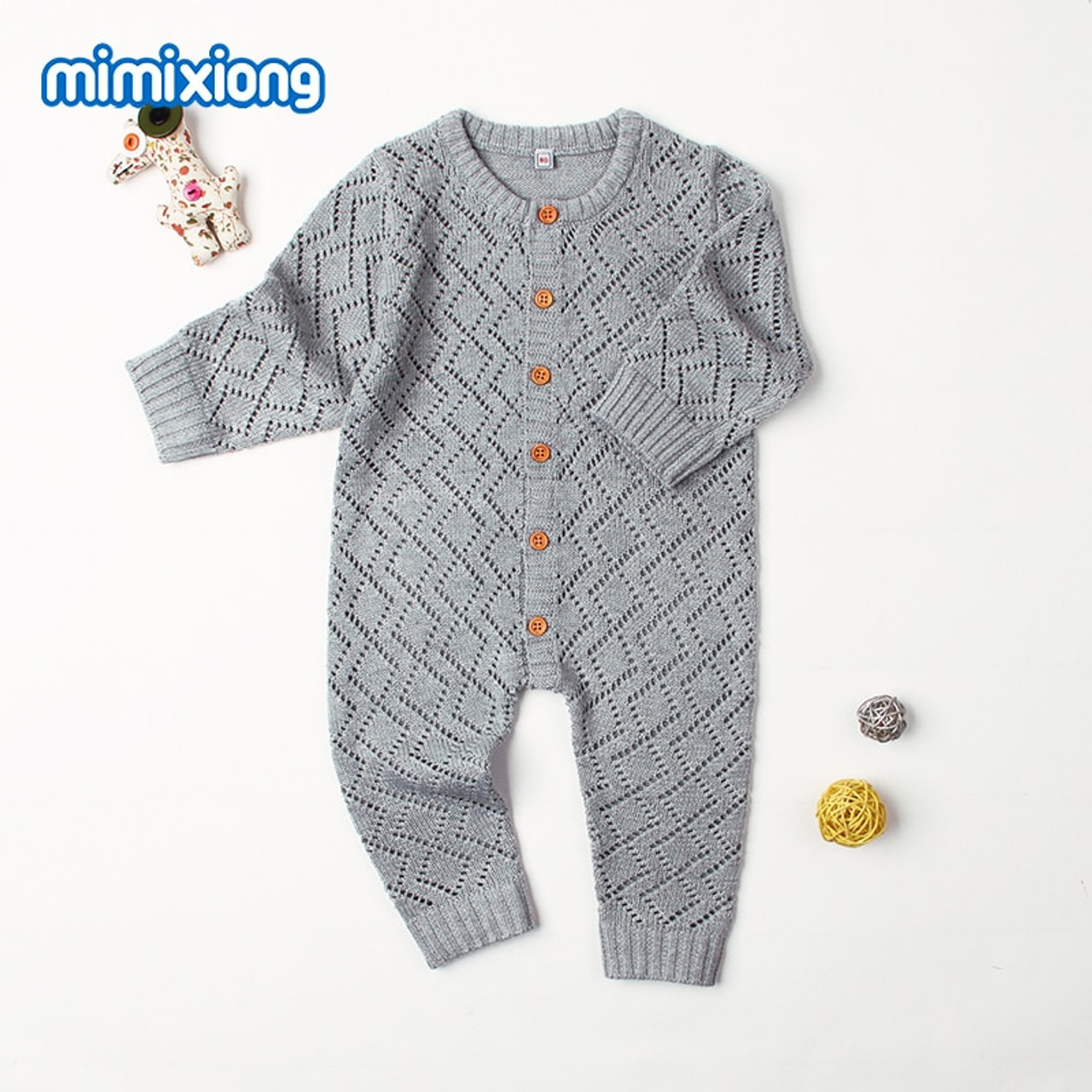 e92d98190bb Newborn Rompers Spring Long Sleeve Toddler Girls Overalls Autumn Candy  Color Infant Boys Jumpsuits Children Knit ...