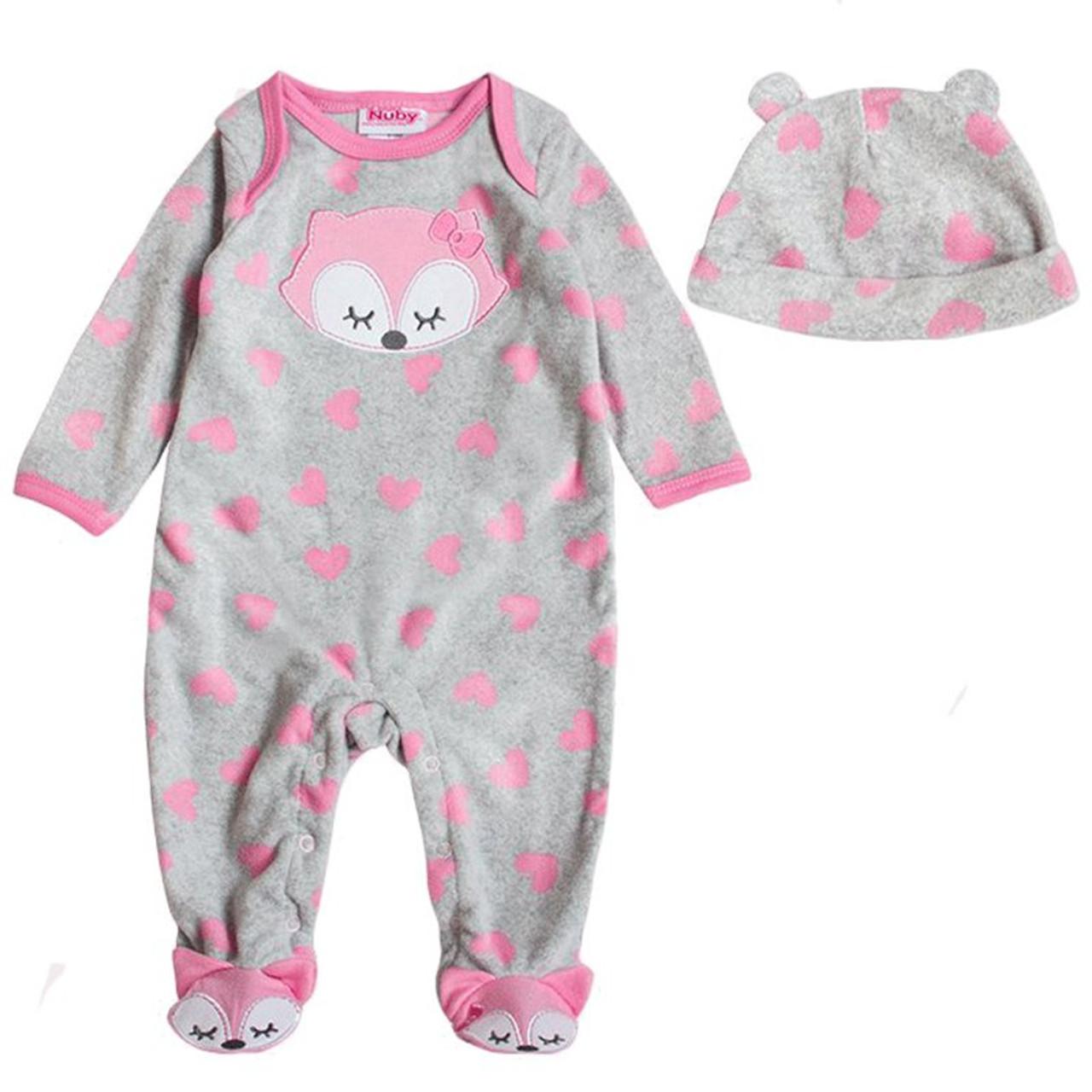 659b8bbe853a Baby Romper Winter Coral Fleece Long Sleeve Hooded Velour Cartoon ...