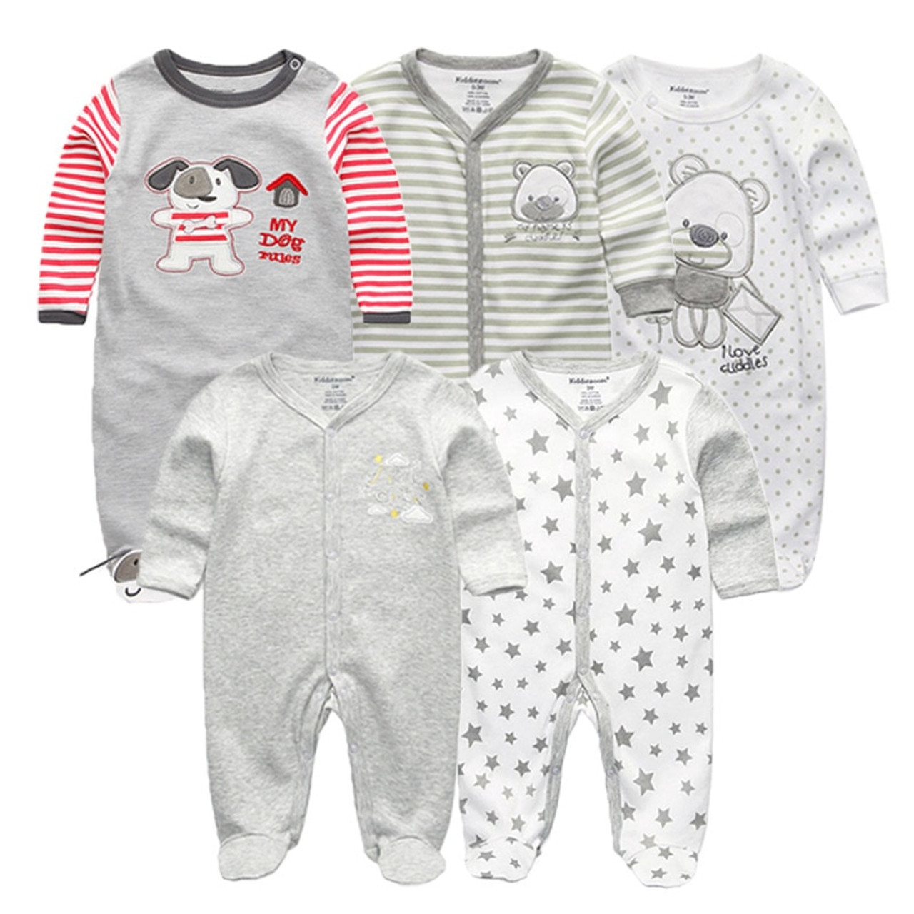 ddd63f1cac23 5 PCS lot newbron 2018 winter long sleeve baby rompers set baby jumpsuit  girls baby ...