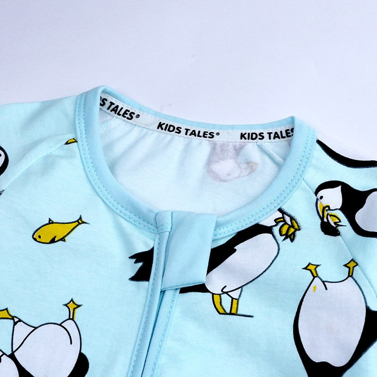 for Baby Toddler Boy or Girl Zippered Romper Penguin Print Blue Jumpsuit Long Sleeve