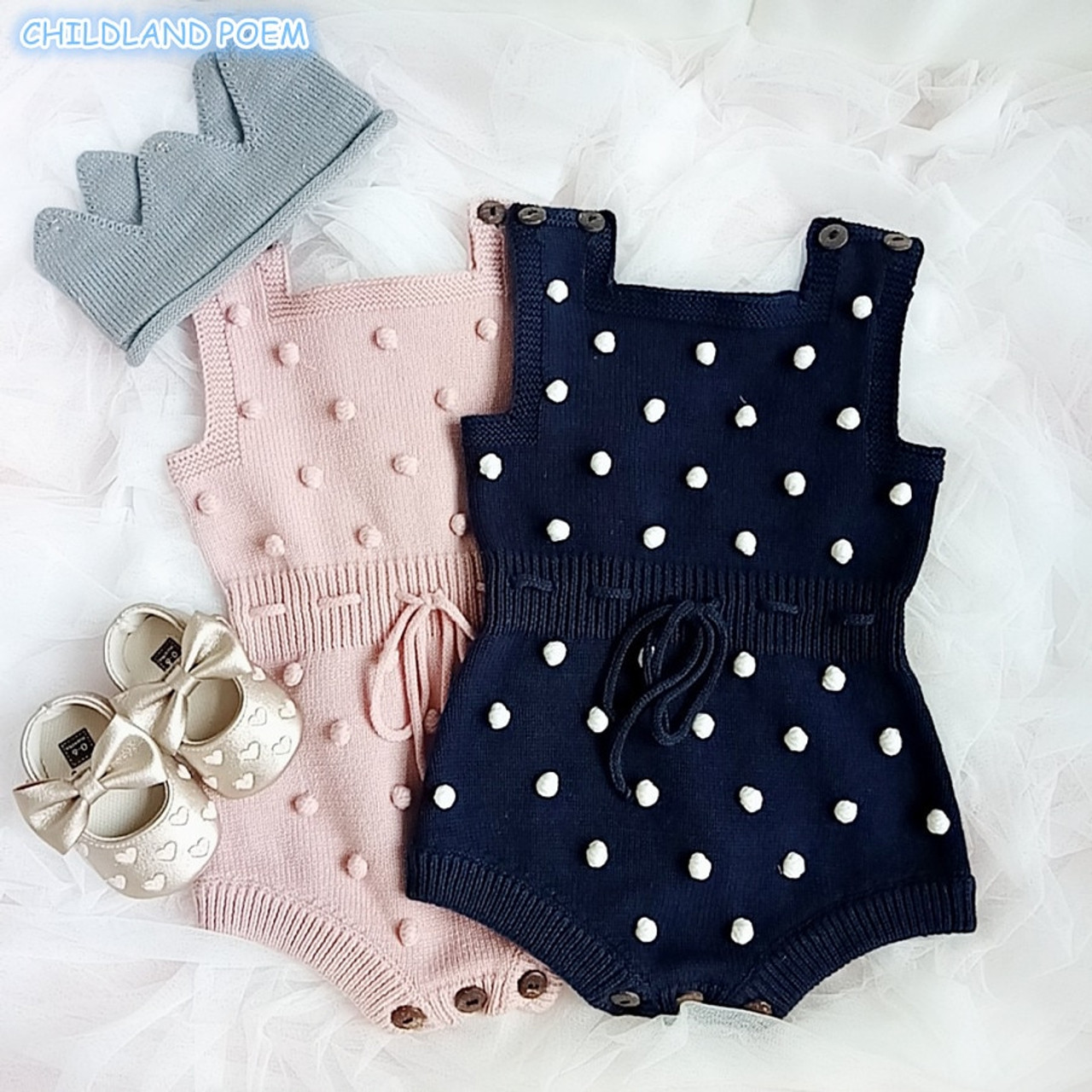aaa3e15b5 Baby Knitted Clothes Autumn Knit Baby Rompers Girl Pompom Baby Girl Romper  Boys Jumpsuit Overall Newnborn Infant Baby Clothes