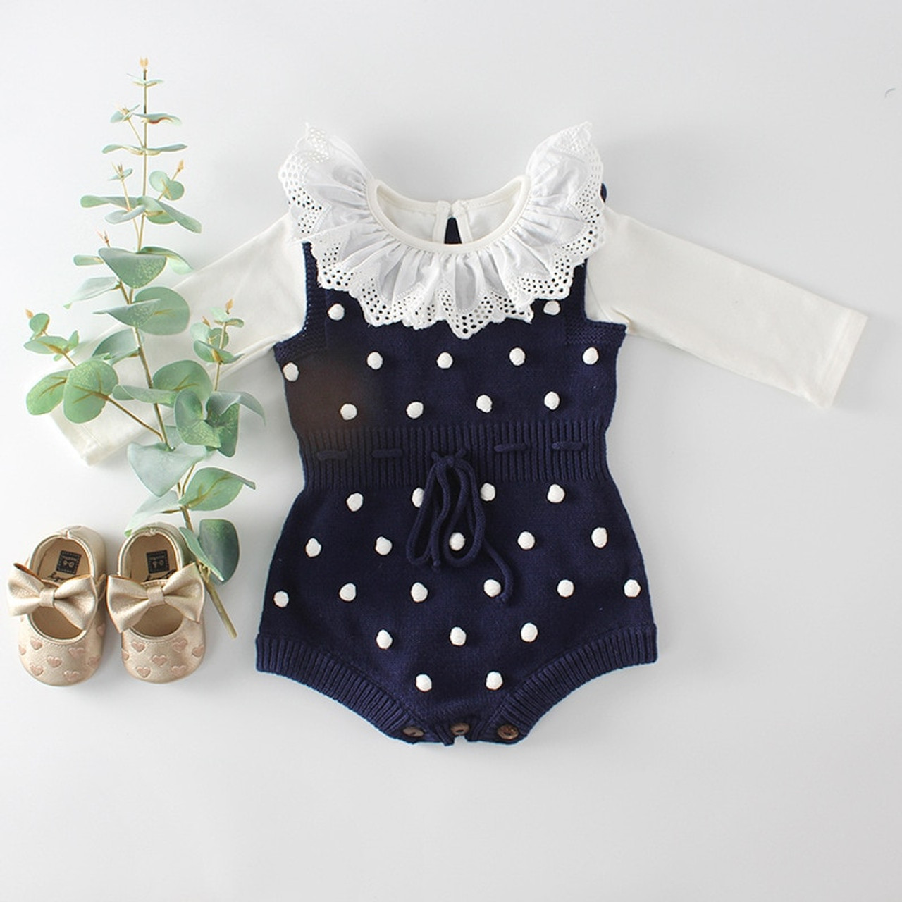 37b30fdab627 ... Baby Knitted Clothes Autumn Knit Baby Rompers Girl Pompom Baby Girl  Romper Boys Jumpsuit Overall Newnborn ...