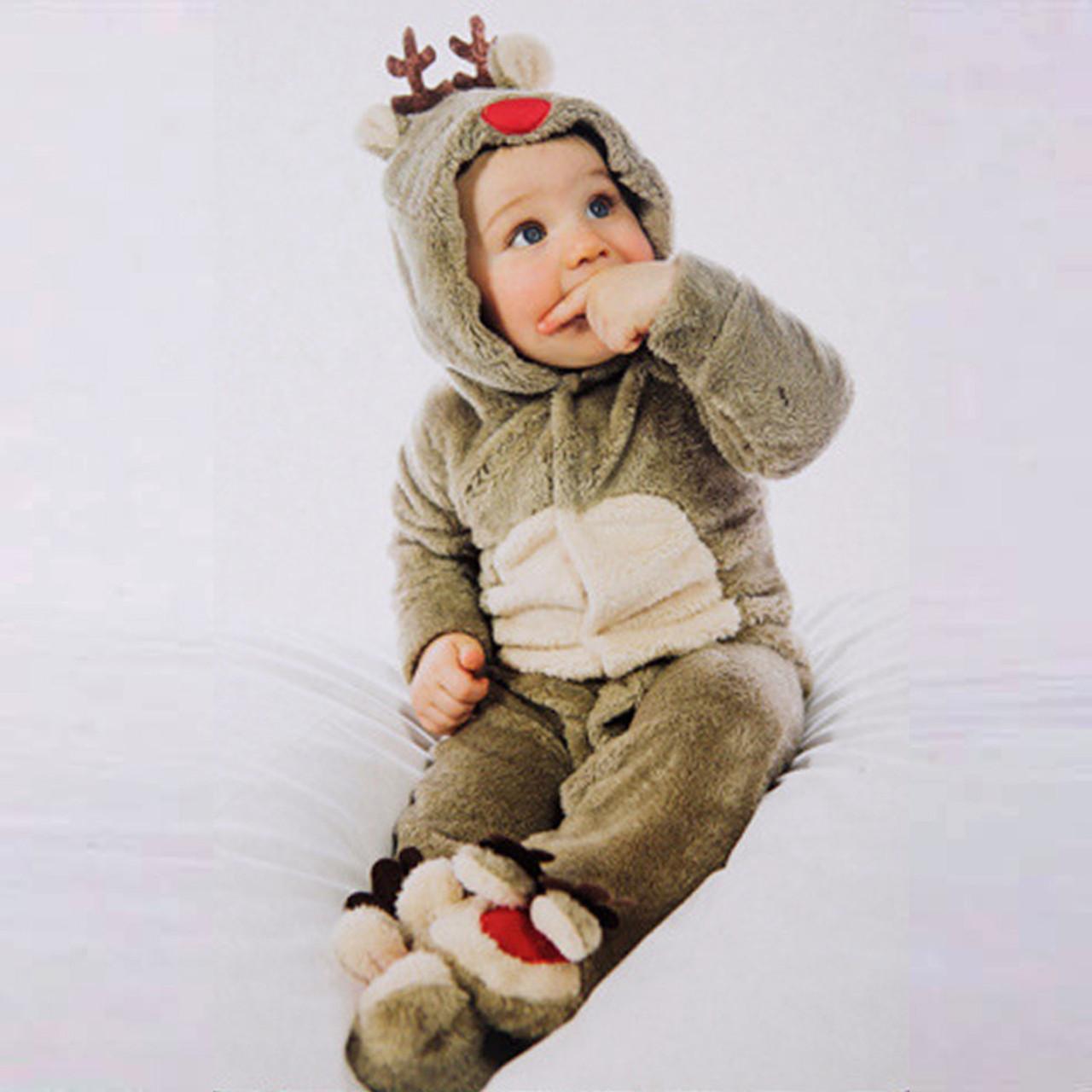 1d99d302312c Unisex Baby Rompers Fleece Newborn Baby Clothes Long Sleeve Cartoon deer  Infant Jumpsuit Toddler Kids Christmas ...