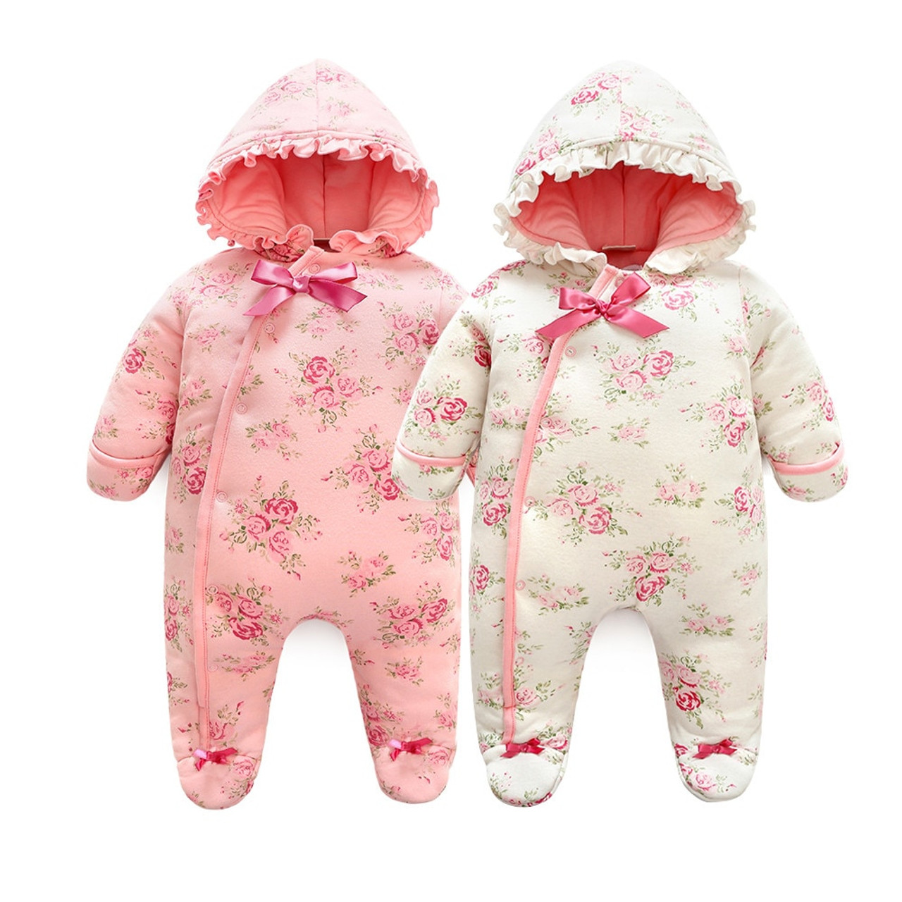 4b5c036ab123c Winter Newborn Baby Girl Rompers Thicken Warm Cotton Jumpsuit Hooded  Clothing Floral Princess Christmas Girls Onesie ...